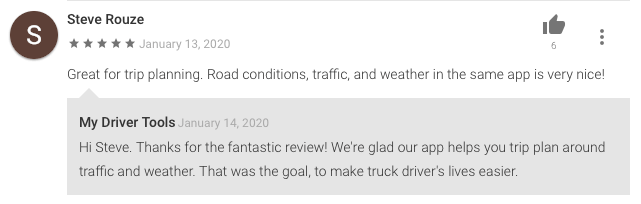 Truck driver weather app review from Dewayne Pigg