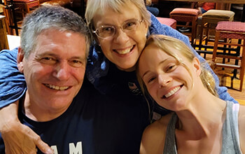 Krysta, Mitch and Vicki Palmer take a selfie together.