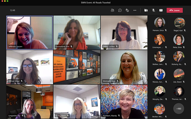 A Microsoft Teams meeting displays eight screens of women smiling during a virtual event.