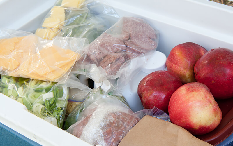 A variety of different foods are being kept cold by a 12-volt electric cooler.