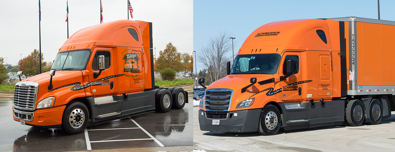 2014 Freighter and 2019 Freightliner truck spec comparison