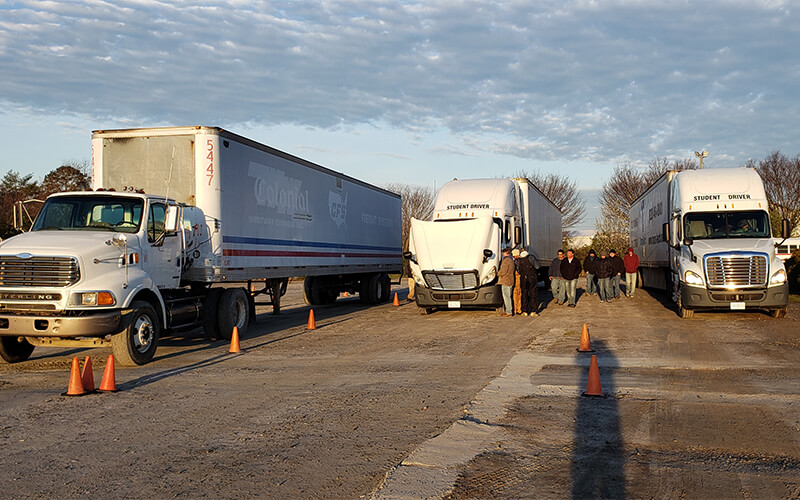 trucks at a driving school