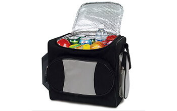A RoadPro 12-Volt Soft Sided Cooler Bag is unzipped, showing off a variety of different foods and drinks within it.