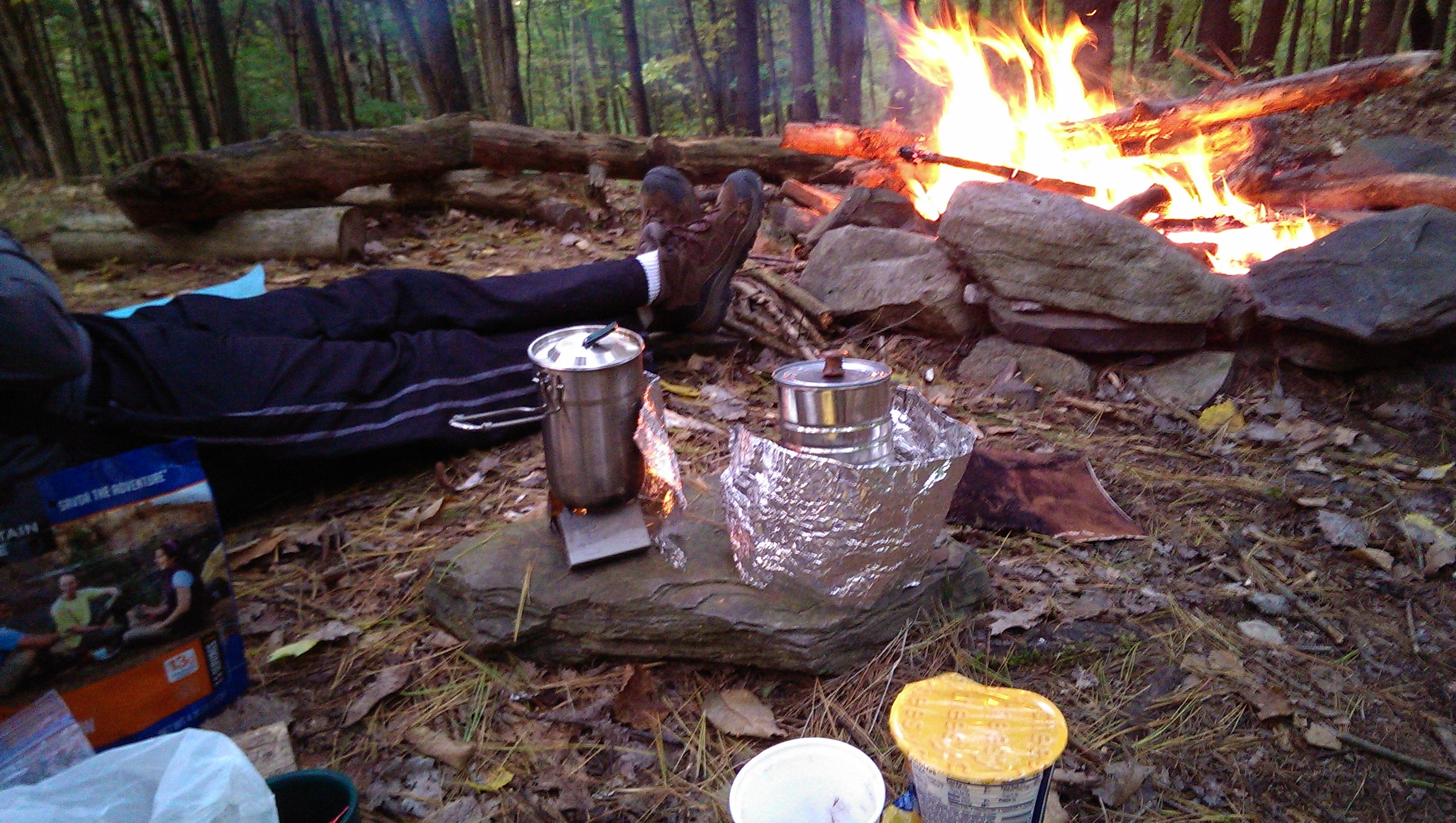 Truck driver camping outdoors