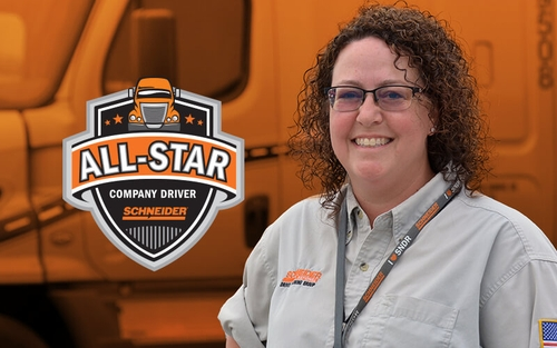 This month's featured driver Dana Rau Courtier is a Schneider Driver Instructor, All-Star and most recently, an Unsung Hero.