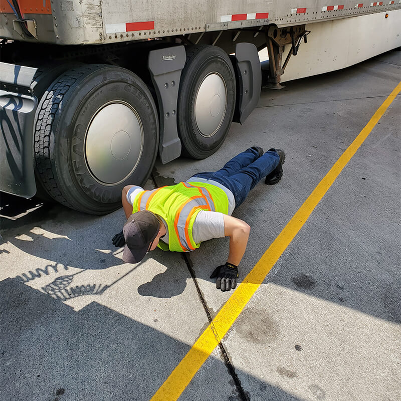 Male truck driver pushup exercise