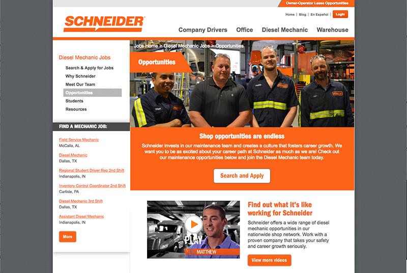 Schneider Diesel technician webpage