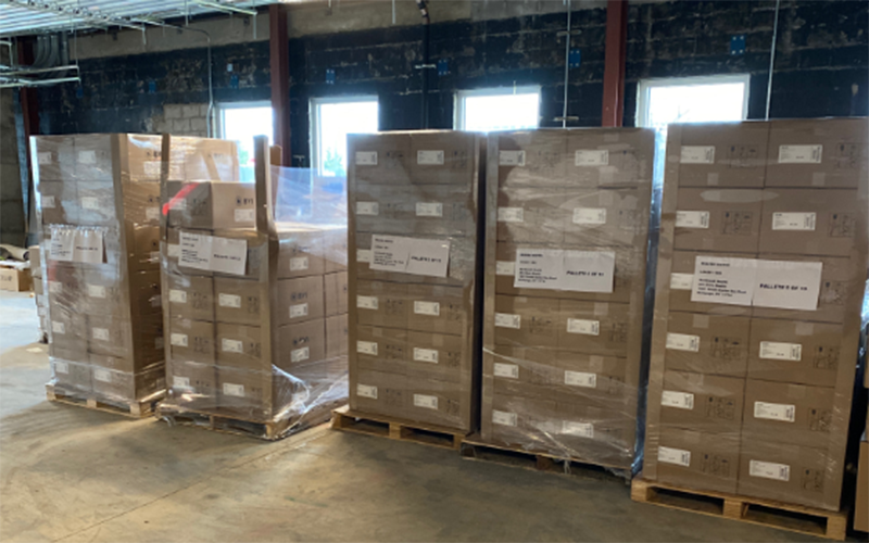 Personal protective equipment in boxes