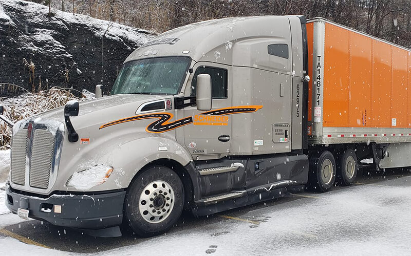 Winter weather driving with a Schneider truck