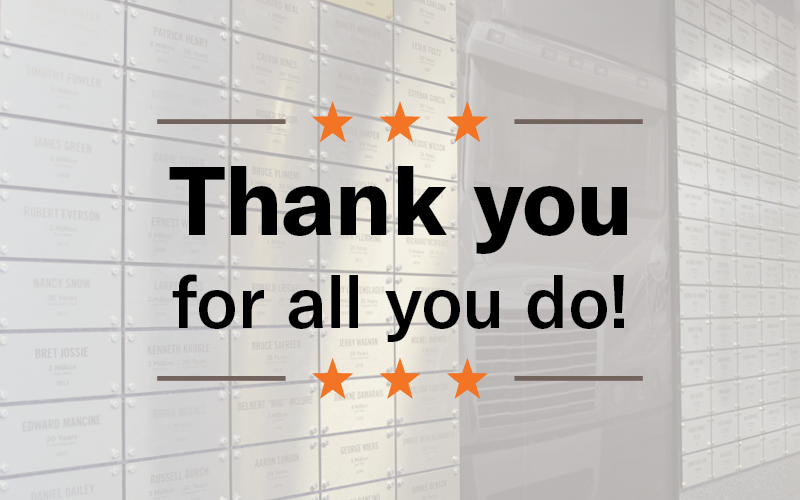 """A graphic with a grey background has text that reads, """"Thank you for all you do."""" Six orange stars surround the text."""