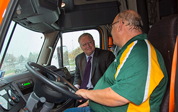 Mike Darras had the opportunity to drive CEO Chris Lofgren in his truck.