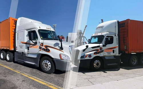 Two Intermodal trucks are parked facing each other. The truck on the left is a Regional sleeper truck and the truck on the right is a Local day cab truck.