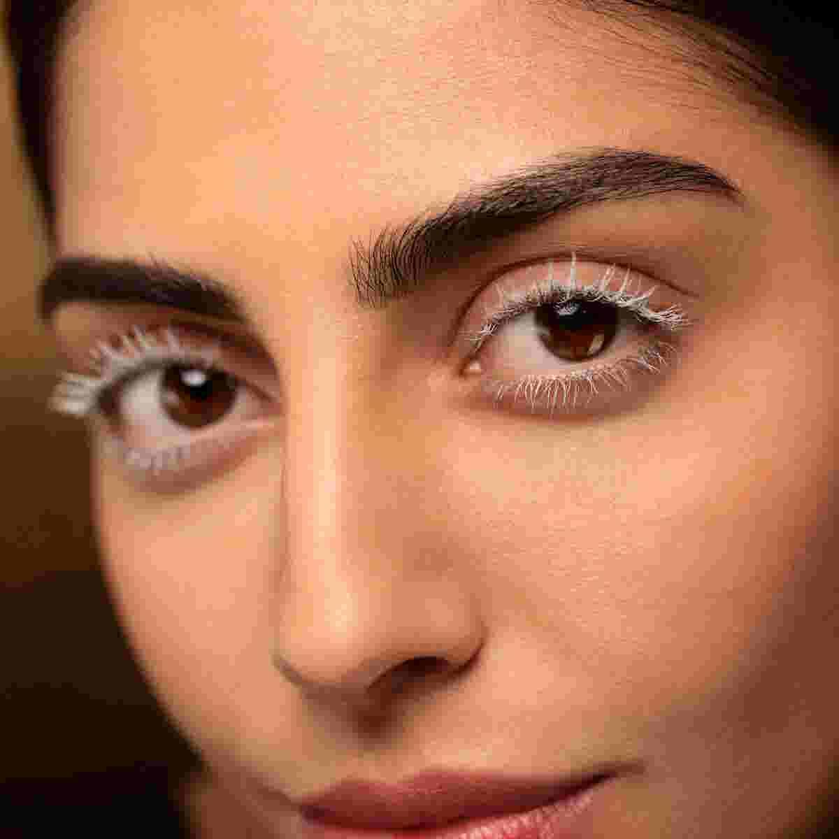 Model wearing eyelash primer by Max Factor