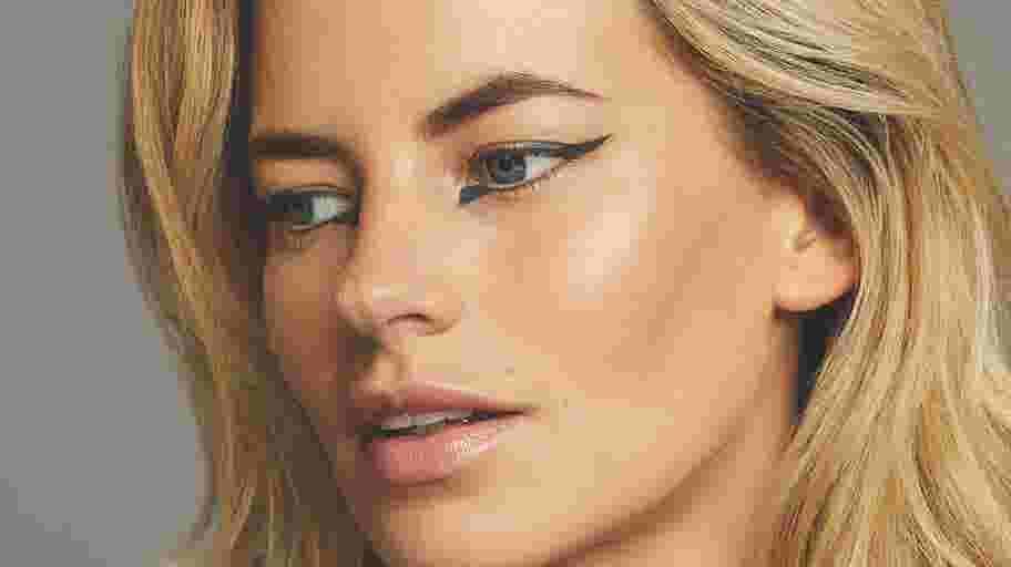 Model wearing extended eyeliner look for festival season