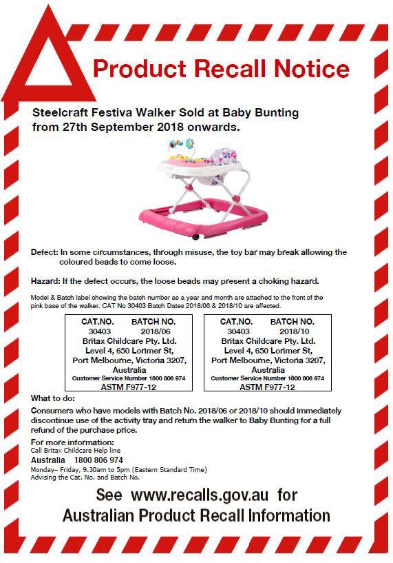 Steelcraft Festiva Walker Recall Notice