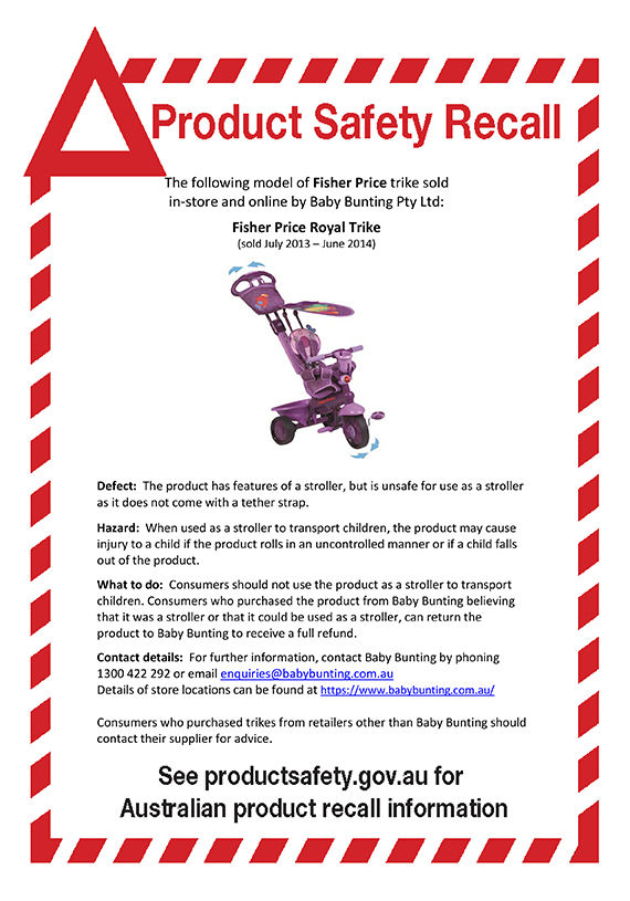 Fisher Price Royal Trike Recall Notice