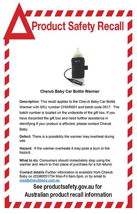 Cherub Baby Car Bottle Warmer Recall Notice