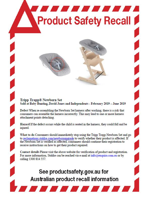 Tripp Trapp Newborn Set Recall Notice