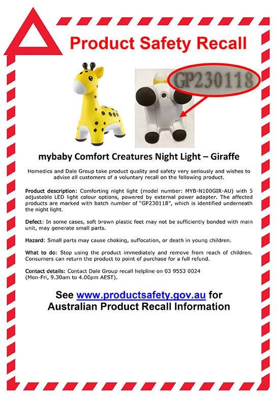 mybaby Comfort Creatures Giraffe Recall Notice