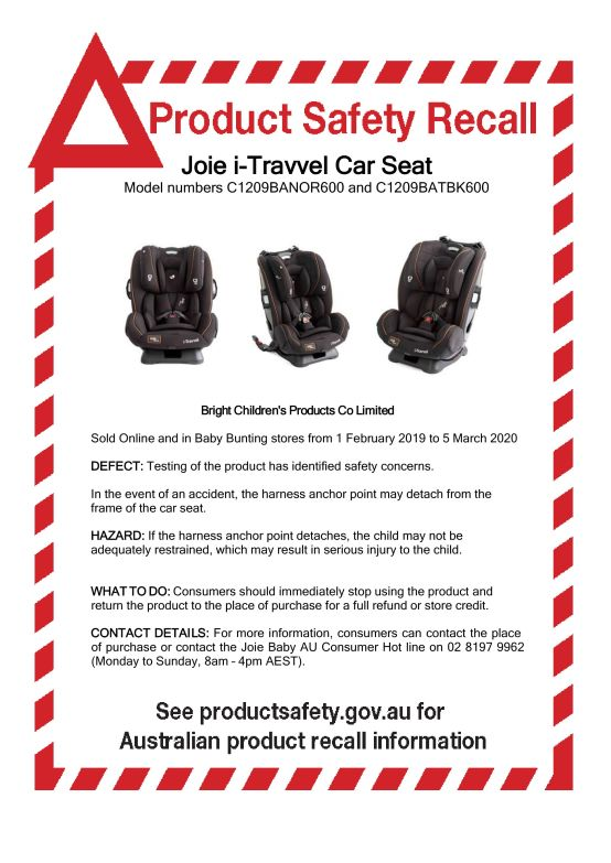 Joie i-Travvel Car Seat Product Safety Recall Notice