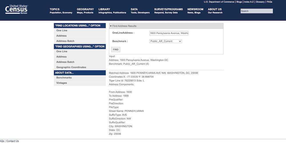 United States Census Bereau tool