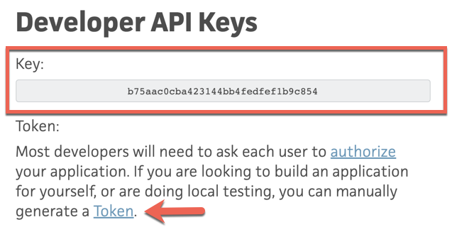 Make note of the API key