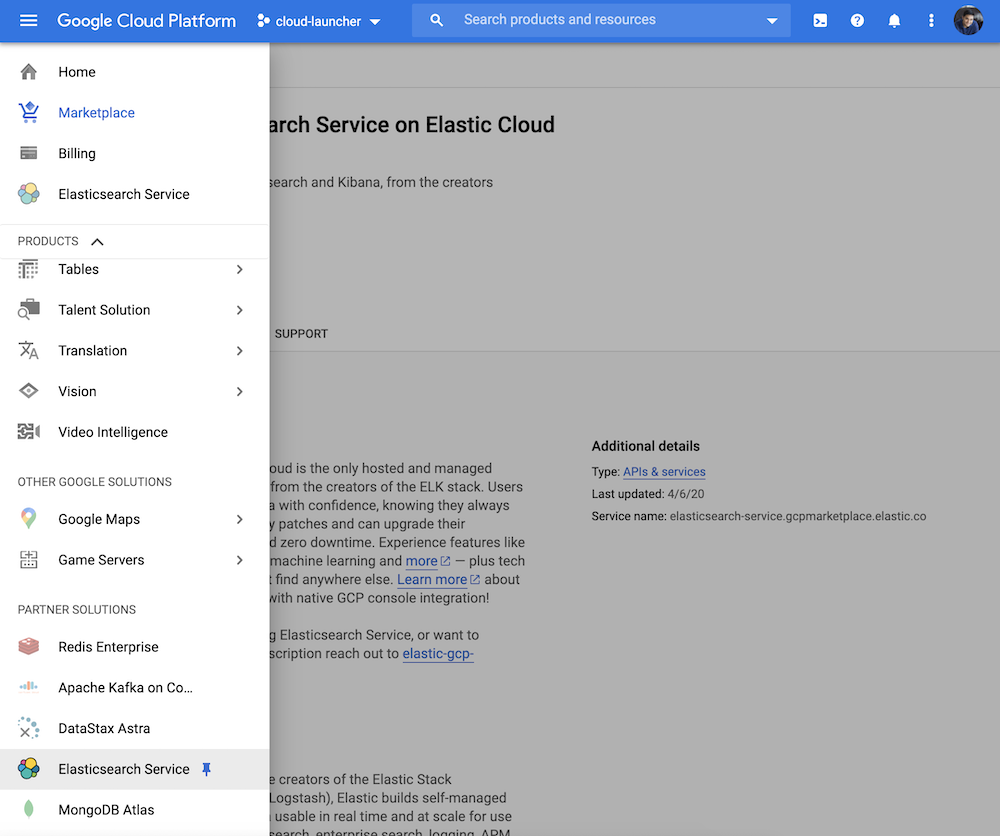 Elastic Cloud is discoverable directly in the Google Cloud console under 'partner integrations'