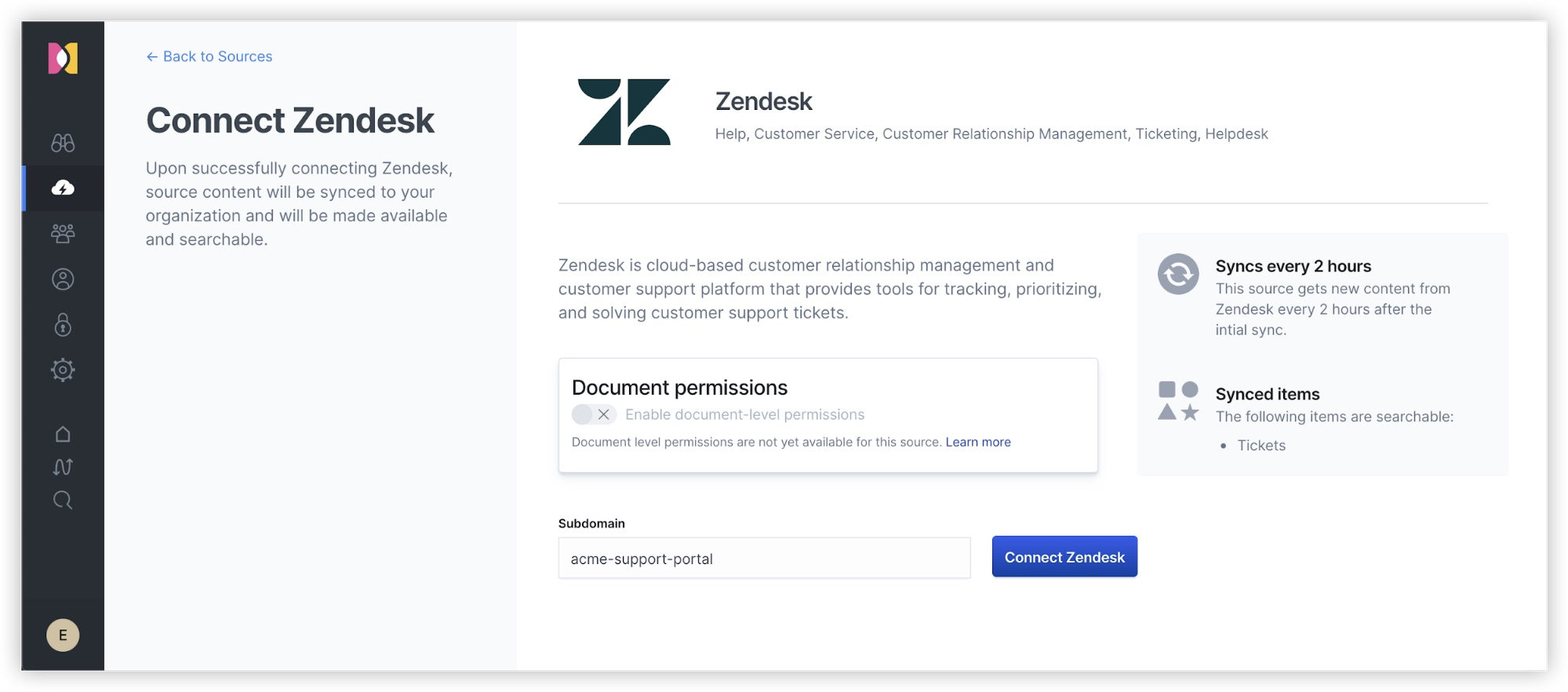 Connecting Zendesk as a source