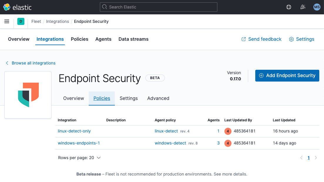 Elastic Security endpoint security integrations