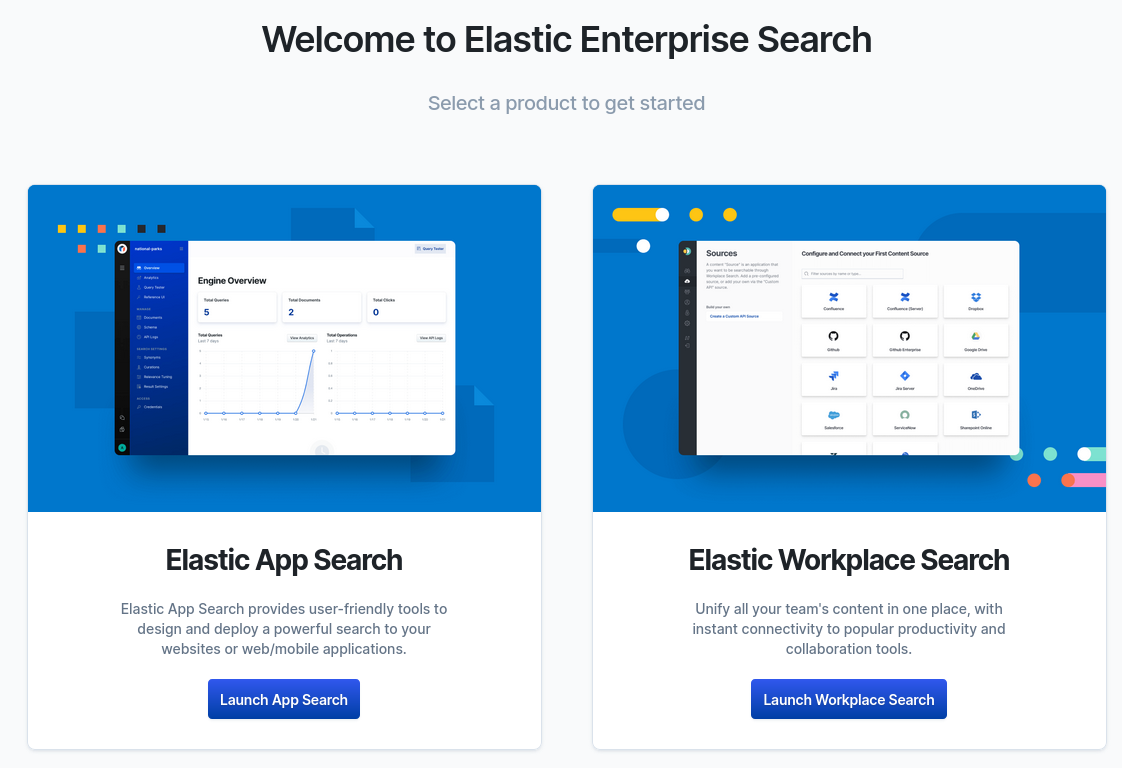 The landing page of Enterprise Search to select either Elastic App Search or Elastic Workplace Search