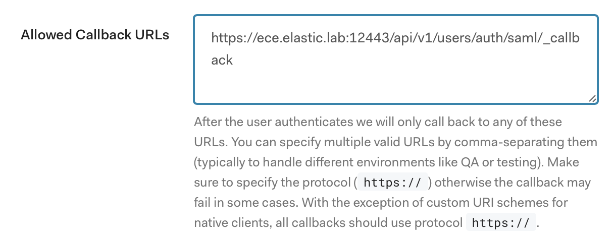 Enter a value in Allowed Callback URLs that matches the one for your ECE deployment