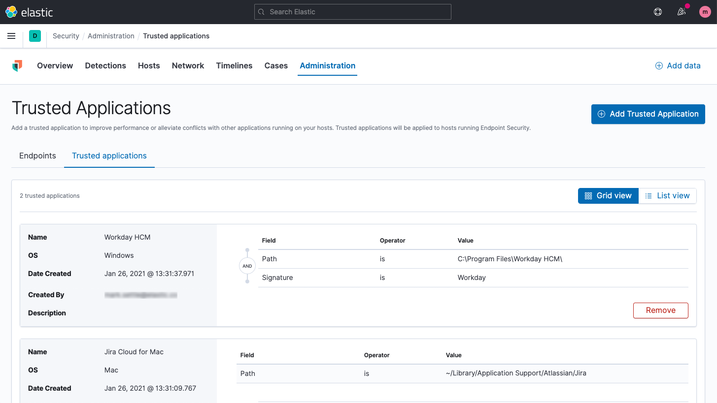 Trusted applications for Elastic endpoint security