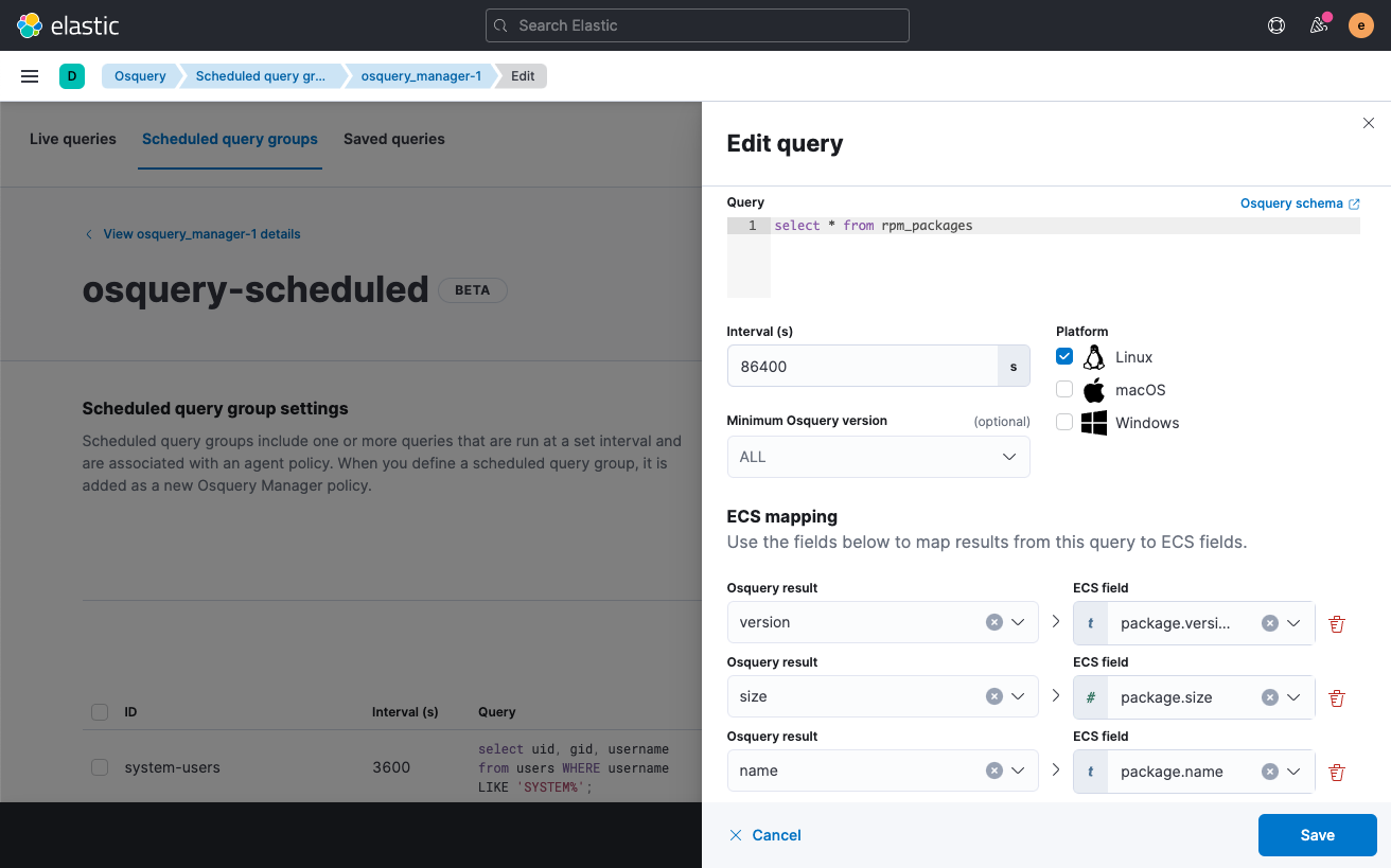 osquery Elastic scheduled query