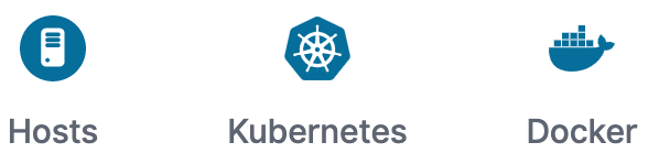 Hosts、Kubernetes、Dockerの各ボタン