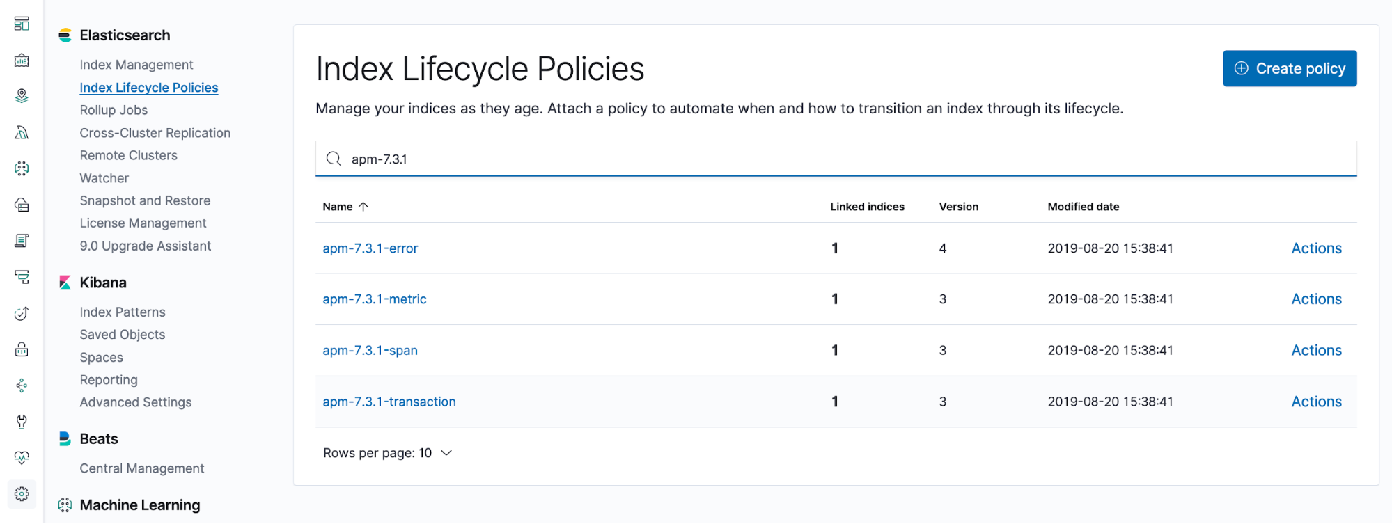 Managing index lifecycle policies from Kibana