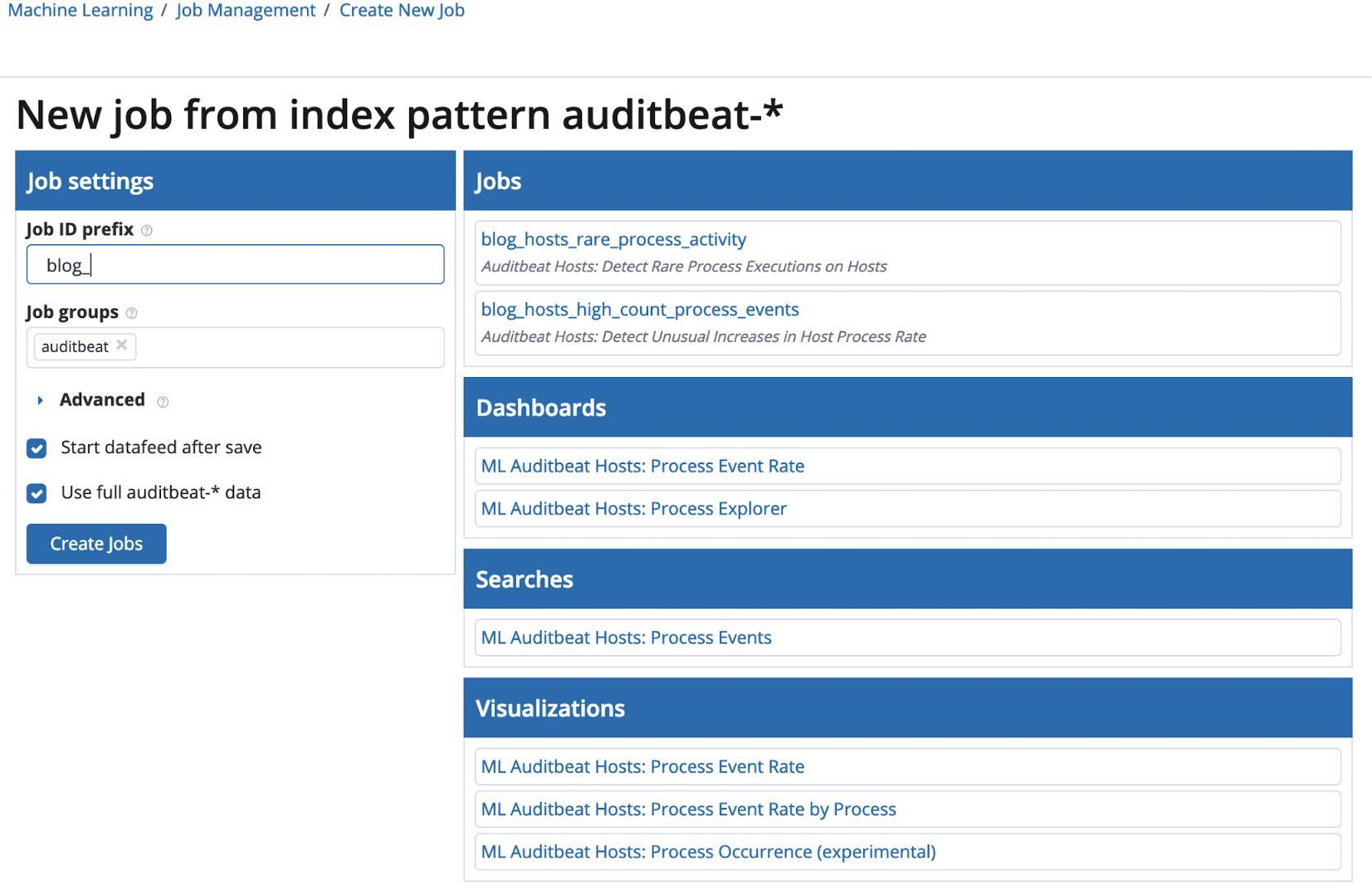 Configure the Auditbeat machine learning job