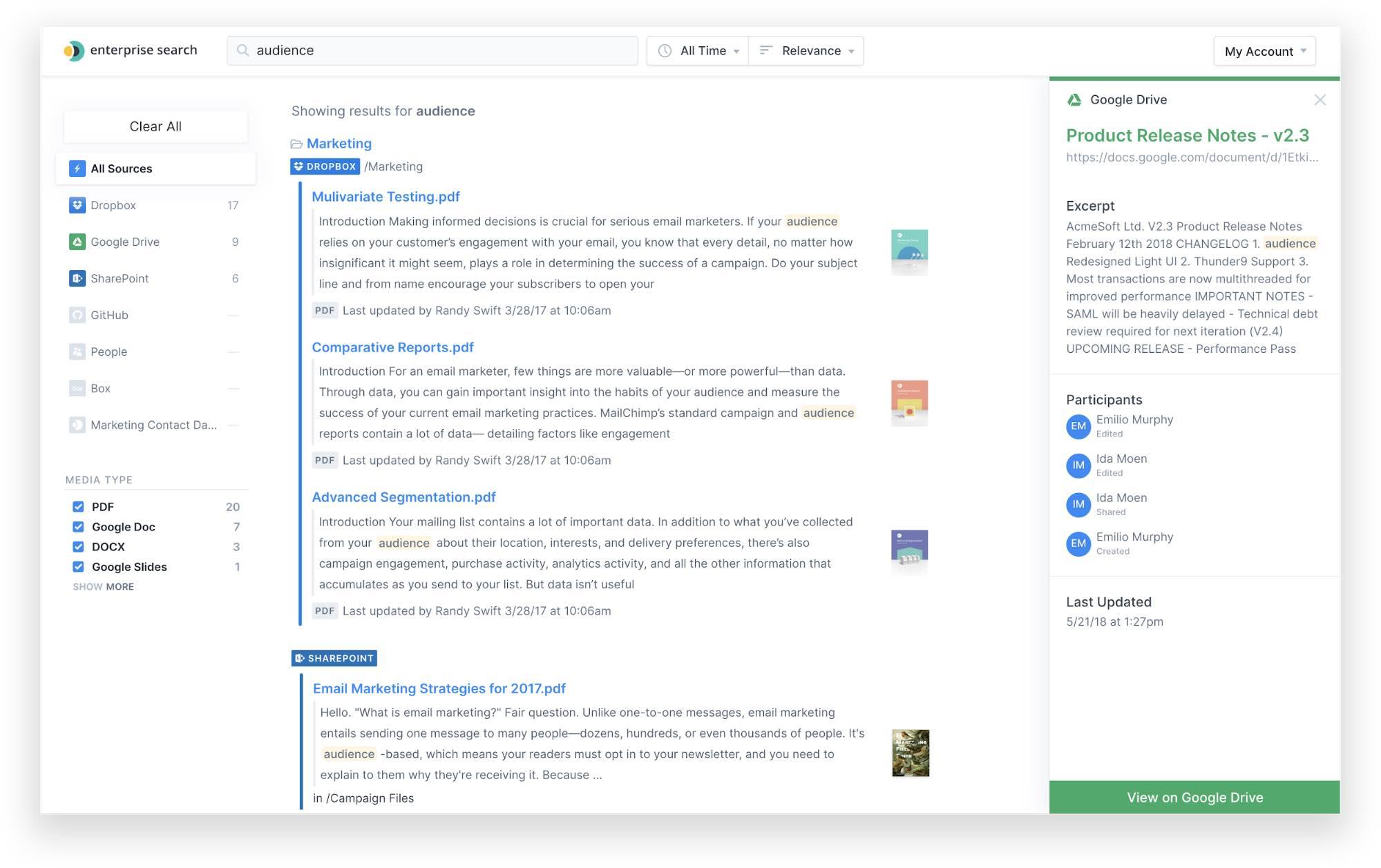 Enterprise Search search results