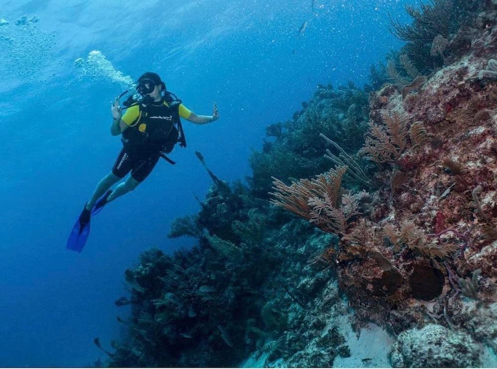 Daliya scuba diving.