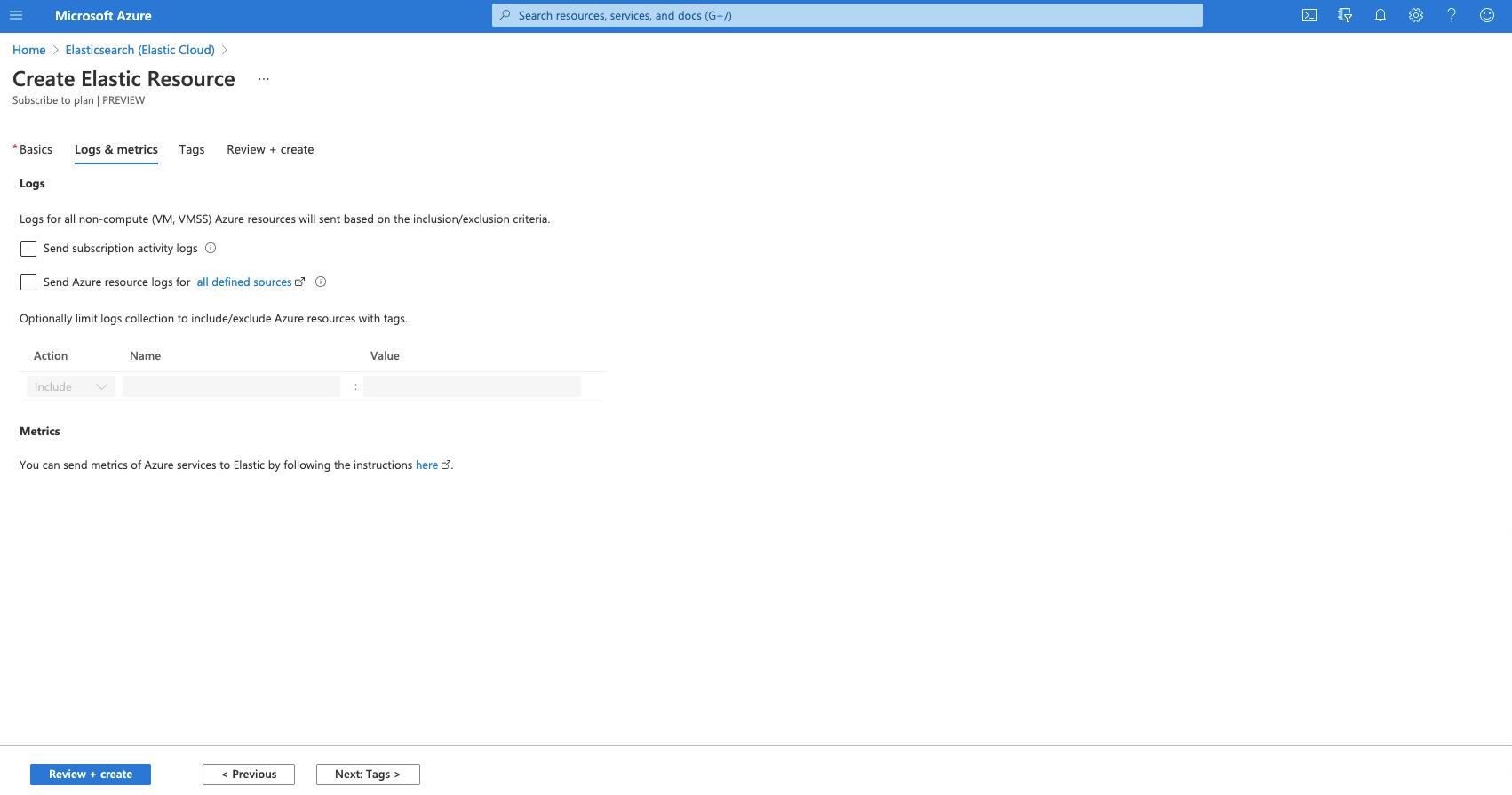 Screenshot of how to create an Elastic resource
