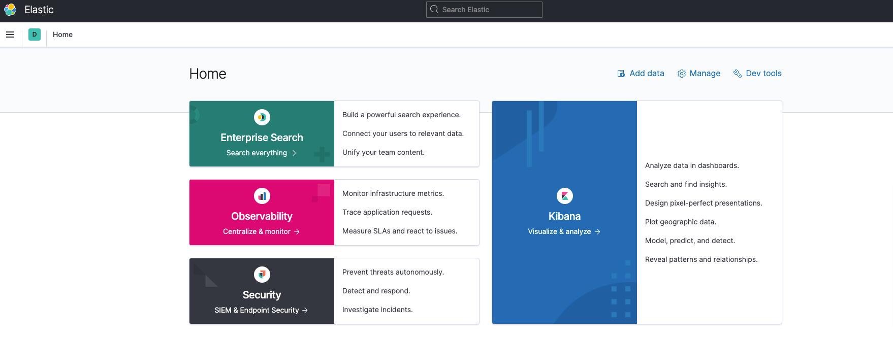 Screenshot of Kibana