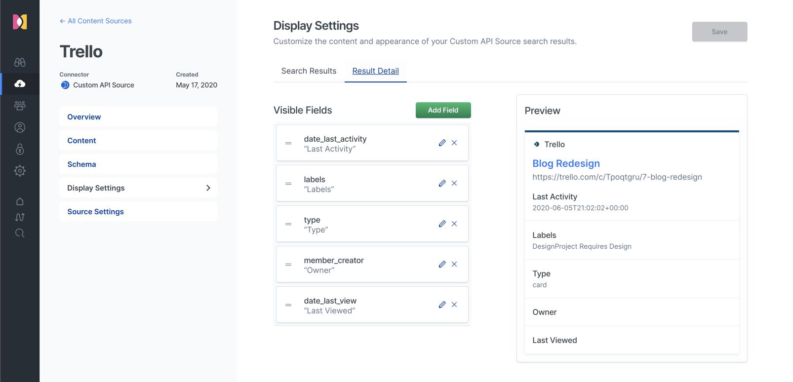 Adjusting search result display settings