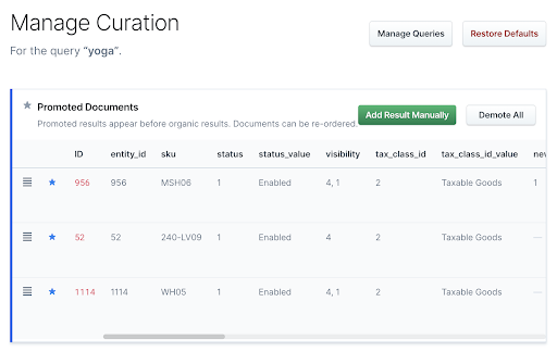 Managing a curation in App Search