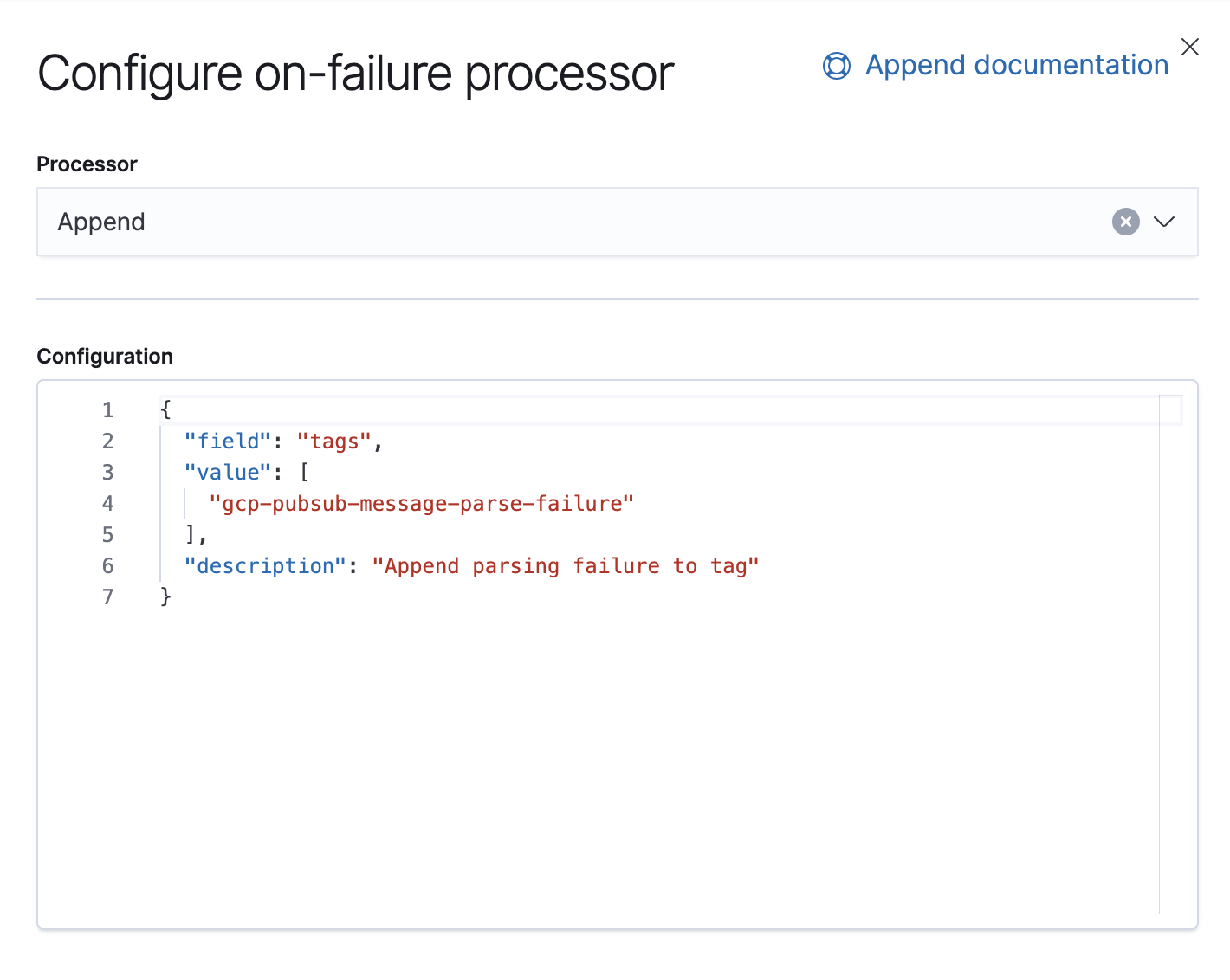 Configurer le processeur on_failure