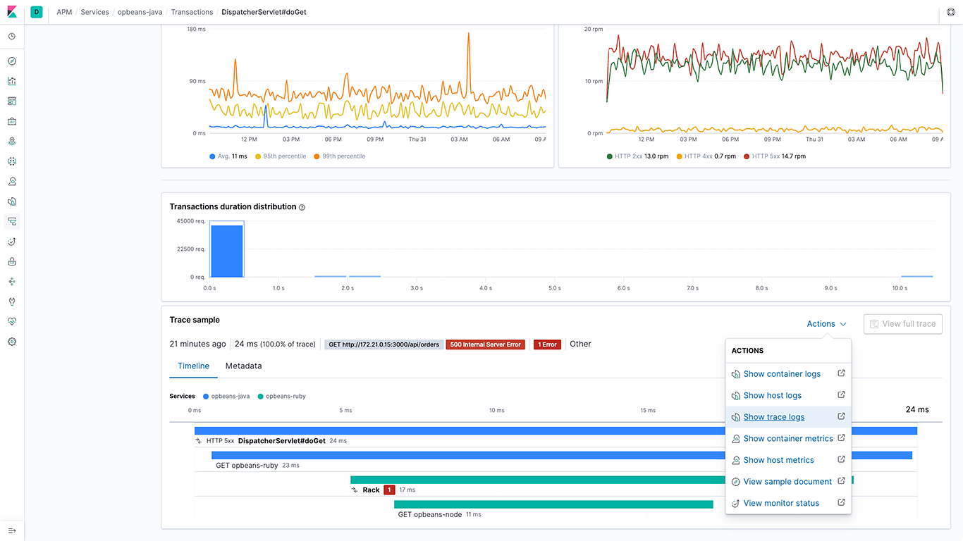 Dashboard bringing together trace and log data