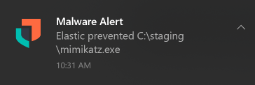 Elastic Security malware prevention notification