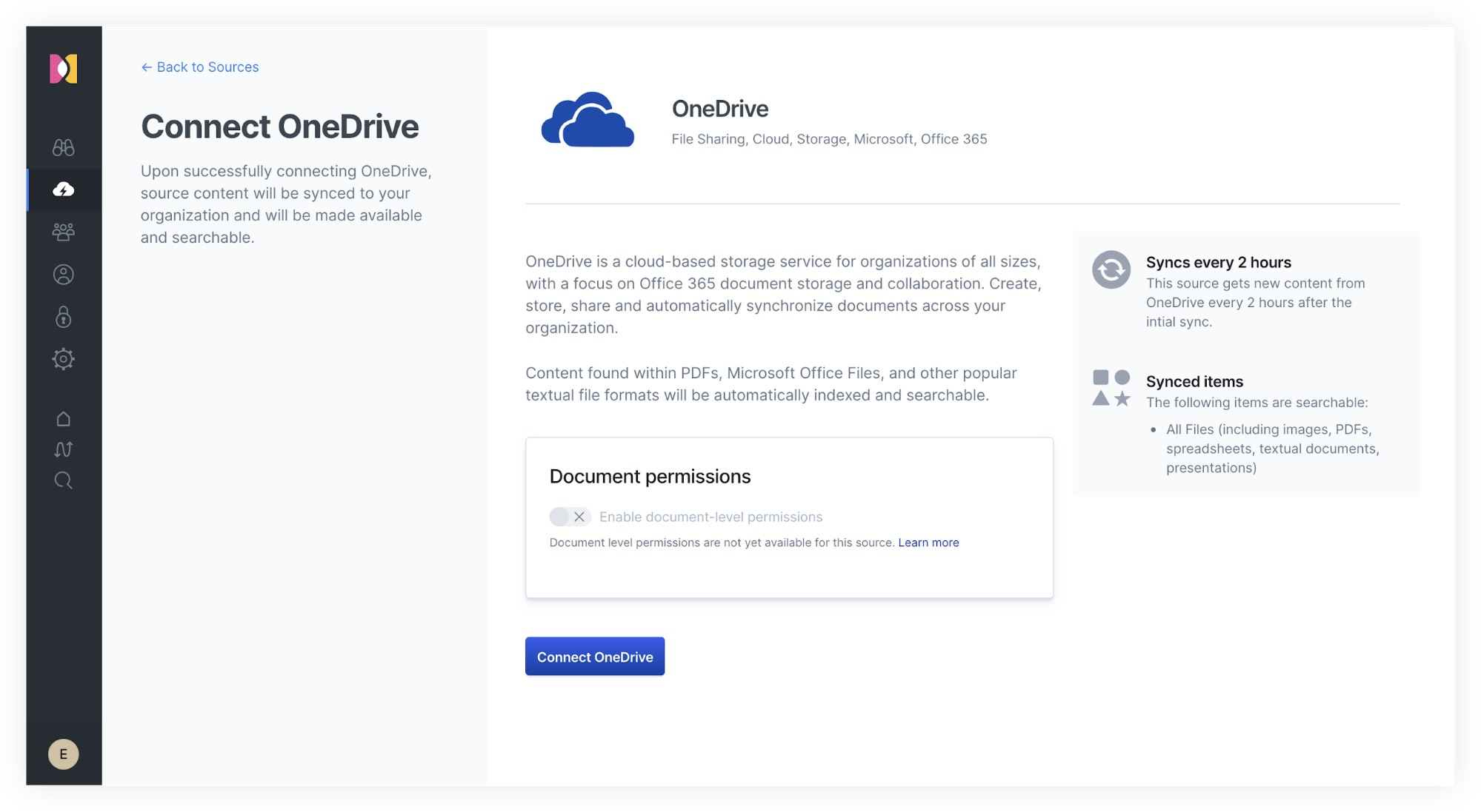 Connecting OneDrive to Workplace Search