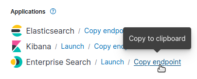 Clicking the Copy Endpoint to copy the Enterprise Search instance URL