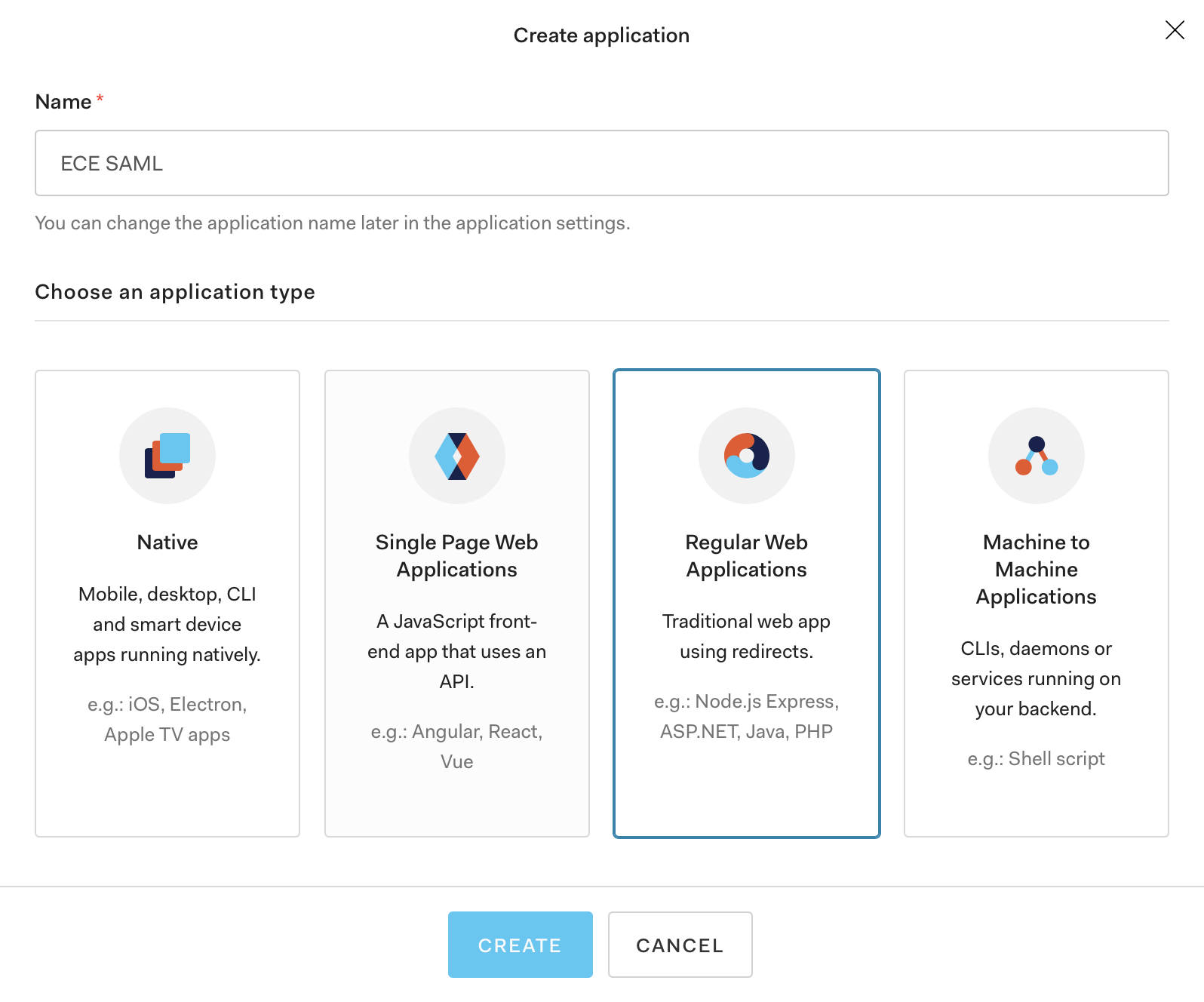 Enter a name for the new application, select Regular Web Applications, and click Create