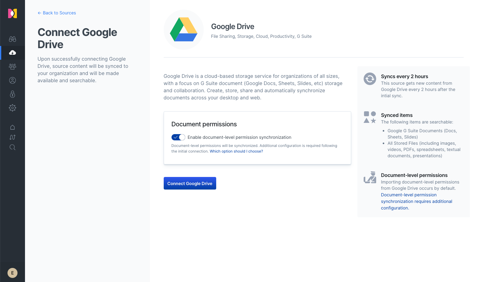 Connecting Google Drive to Workplace Search