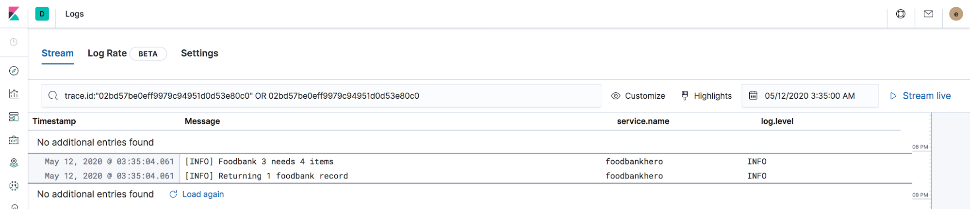 Now you can see the logs associated with the trace in Elastic APM.